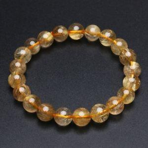 【送料無料】ブレスレット アクセサリ― ゴールドチタンルチルクリスタルビーズブレスレット92mm natural gold titanium rutilated quartz crystal beads bracelet gra044