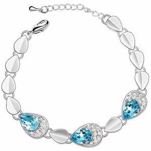 【送料無料】ブレスレット アクセサリ― ニューチェーンブレスレット crystal blue argent color fashion chain bracelet