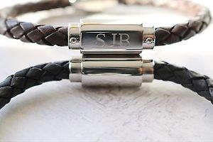 【送料無料】ブレスレット アクセサリ― ブレスレットmens personalised leather id bracelet