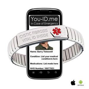 【送料無料】ブレスレット アクセサリ― アラートブレスレットアイデンティティcystic fibrosis medical alert bracelet ice sos emergency identity expanding sms