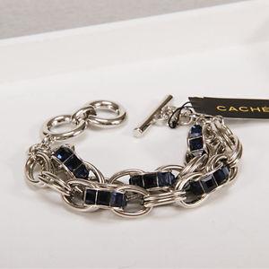 【送料無料】ブレスレット アクセサリ― ブレスレットシルバーmulti 2チェーンロケットct1bracelet silver multi two row chain blue retro ct1
