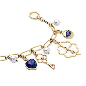 【送料無料】ブレスレット アクセサリ― ブレスレットシャルムキークローバリバイバルct 4bracelet golden charmes key heart clover navy blue filigree end retro ct 4