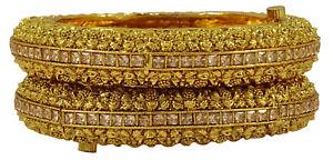 【送料無料】ブレスレット アクセサリ― 2 pc kundantraditionnelles partiekj2492 pc kundan vis kada bracelets femmes traditionnelles partie bijouxkj249