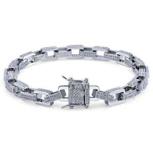 【送料無料】ブレスレット アクセサリ― 18kcz12mmroloリンクチェーン8インチブレスレット18k white plated cz iced out 12mm square rolo link chain 8 inch wrist bracelet