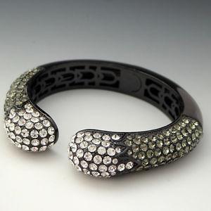 【送料無料】ブレスレット アクセサリ― ヘマタイトクリスタルグレーラインストーンカフヒンジブレスレットjoan boyce kissable hematite pave crystal grey rhinestone cuff hinged bracelet