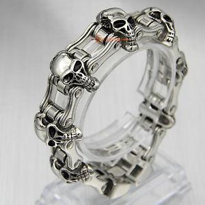 【送料無料】ブレスレット アクセサリ― バイクチェーンリンクバイカーブレスレットステンレススチールミリgパンクmens heavy bike chain skulls link biker bracelet stainless steel 23mm 150g punk