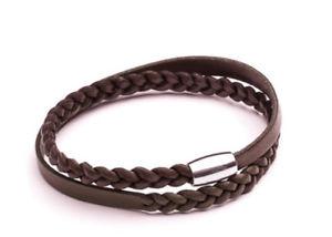 【送料無料】ブレスレット アクセサリ― ダブルラップクリスマスdouble wrap brown leather plaited bracelet men's gift uk xmas