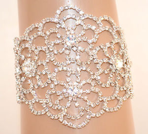 【送料無料】ブレスレット アクセサリ― ブレスレットシルバーラインストーンwomen bracelet silver rhinestone crystals bridal elegant wedding bridesmaid e100