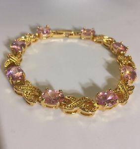【送料無料】ブレスレット アクセサリ― ピンクサファイアブレスレットボックスプラムgb pink oval sapphires, gold filled bracelet 75 long, gift boxed, plum uk