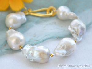 【送料無料】ブレスレット アクセサリ― ホワイトバロックパールブレスレットインチz5760 19mm white baroque keshi reborn pearl bracelet 8inch