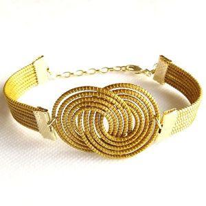 【送料無料】ブレスレット アクセサリ― ブレスレットリンクストラップ listingcapim vegetable gold bracelet figure eight linked wide golden straps adjustable