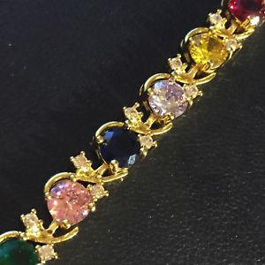 【送料無料】ブレスレット アクセサリ― ゴールドブレスレットマルチカラースワロフスキーエレメントgb 18k gold filled 725 bracelet multi colour swarovski elements boxed plum uk