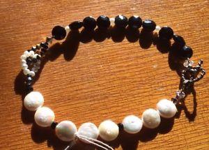 【送料無料】ブレスレット アクセサリ― ハンドメイドサイズブレスレットインチhandmade fresh water pearl onxy large large size bracelet 9 inches in length