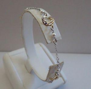 【送料無料】ブレスレット アクセサリ― スターリングシルバーハートブレスレットトーンイエローホワイトゴールドビーズ18k two tone yellowwhite gold on sterling silver heart bracelet withbeads