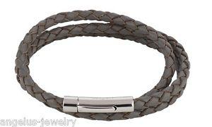 【送料無料】ブレスレット アクセサリ― レザーブレスレットグレーalraune eternity, leather bracelet, 3 row, grey, 63 cm, edelstahlverschlu