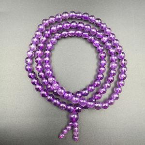 【送料無料】ブレスレット アクセサリ― グラムアメジストラウンドビーズブレスレット5mm 263 gram natural purple amethyst quartz crystal round beads bracelet