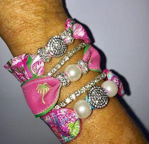 【送料無料】ブレスレット アクセサリ― ピューリッツァーピンクコロニーフラミンゴブレスレットビーチパームツリーlilly pulitzer pink colony flamingo bracelet set summer beach palm tree