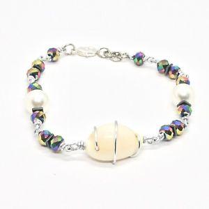 【送料無料】ブレスレット アクセサリ― アルミニウムシェルヘマタイトブレスレットbracelet the aluminium long 20 cm with shell hematite and pearls