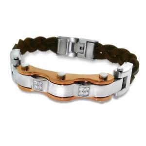 【送料無料】ブレスレット アクセサリ― メンズスチールタグブレスレットmens steel and leather tag bracelet
