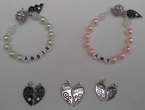 【送料無料】ブレスレット アクセサリ― パーソナライズツインブレスレットベストpersonalised twin bracelets any name big little sis motherdaughter bestfriends