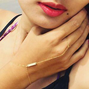 【送料無料】ブレスレット アクセサリ― バーハンドチェーンスレーブブレスレットrectanglebar hand chain all gold filled or sterling silver slave bracelet