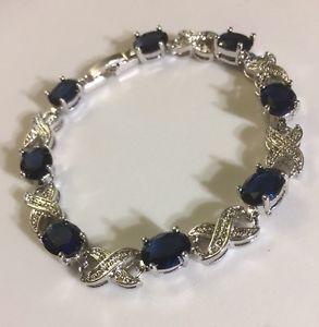 【送料無料】ブレスレット アクセサリ― サファイアシルバーホワイトゴールドブレスレットgb blue oval sapphires silver white gold gf bracelet 725 boxed plum uk