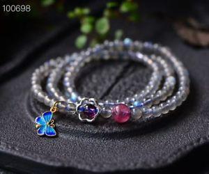 【送料無料】ブレスレット アクセサリ― ムーンストーンビードブレスレットnatural moonstone blue light gemstone beads bracelet aaa 455mm