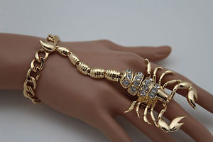 【送料無料】ブレスレット アクセサリ― メタルスコーピオンスレーブブレスレットリングファッションジュエリーfancy women gold metal scorpion hand chain slave bracelet ring fashion jewelry