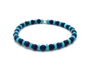【送料無料】ブレスレット アクセサリ― ターコイズラピスラズリスターリングシルバービーズブレスレットturquoise and lapis lazuli with sterling silver beads bracelet