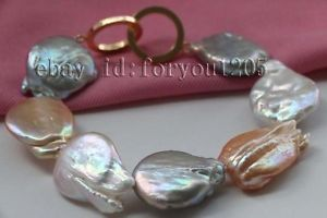 【送料無料】ブレスレット アクセサリ― マルチカラーバロックパールブレスレットgenuine natural 23mm multicolor baroque reborn keshi pearl bracelet 14k f2296