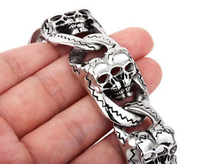 【送料無料】ブレスレット アクセサリ― 134gゴシックブレスレットステンレス26mm 134g heavy jewelry gothic men cool skull bracelet biker stainless steel 26mm