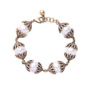 【送料無料】ブレスレット アクセサリ― ゴールドブレスレットアールデコパールホワイトクラスレトロgold bracelet art deco paved pearl white class retro wedding ct9