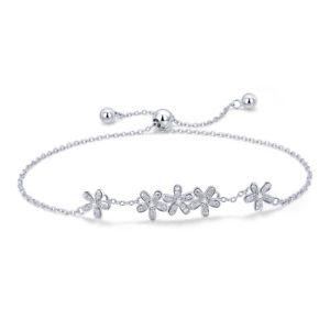 【送料無料】ブレスレット アクセサリ― テニスチェーンフジサンケイビジネスブレスレットスターリングシルバーtennis bracelet sterling silver with chain adjustable 925 marguerite
