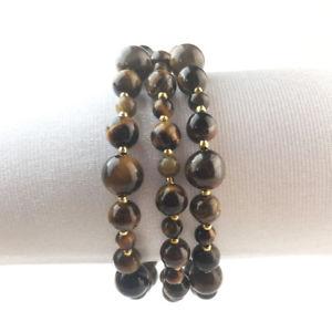 【送料無料】ブレスレット アクセサリ― トリプルブレスレットタイガーアイポーチビーズtriple bracelet tiger eye semiprecious stone beads pouch kdo