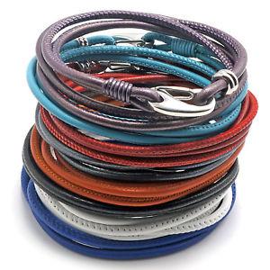 【送料無料】ブレスレット アクセサリ― デザイナーステッチナパレザーラップブレスレットdesigner stitched napa leather quad wrap bracelet for her 12 colors
