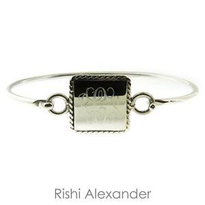 【送料無料】ブレスレット アクセサリ― スターリングシルバーヒンジロープエッジスクエアカフブレスレット925 sterling silver hinged monogrammed rope edge square cuff bracelet
