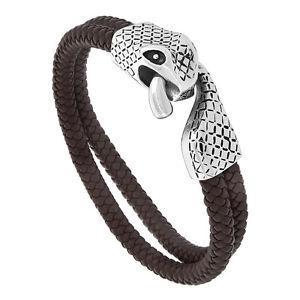 【送料無料】ブレスレット アクセサリ― ブレスレットステンレススチールスネーククラスプbrown leather 2strand braided bracelet w stainless steel snake clasp