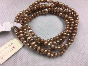 【送料無料】ブレスレット アクセサリ― メイシーズスターリングシルバーシルバーパールブレスレットストレッチドルmacys sterling silver silver freshwater pearl stretch bracelet 60