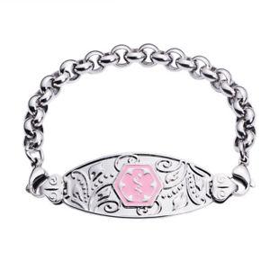 【送料無料】ブレスレット アクセサリ― ステンレスピンクシンボルブレスレットリンパmedical id filigree stainless pink symbol rolo bracelet lymphedema no bp iv