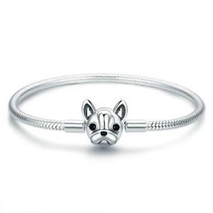 【送料無料】ブレスレット アクセサリ― フレンチブルドッグスネークチェーン925スターリングブレスレットb01french bulldog dog snake chain 925 sterling silver charm bracelet b01