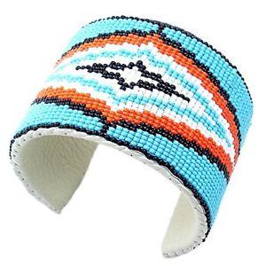 【送料無料】ブレスレット アクセサリ― ハンドメイドメンズマルチカラーネイティブビーズワークブレスレットインチhandmade mens multi color native bead work bracelet leather 65 x 2 inch