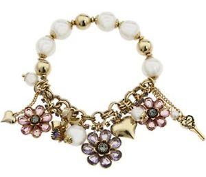 【送料無料】ブレスレット アクセサリ― ジョンソンストレッチブレスレットbetsey johnson spring bloom flower charm half stretch bracelet b05490b01