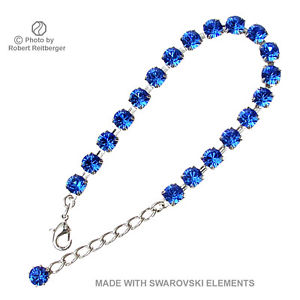 【送料無料】ブレスレット アクセサリ― スワロフスキーエレメントサファイアブレスレットsilver plated bracelet with swarovski elements blue sapphire color