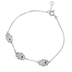 【送料無料】ブレスレット アクセサリ― スターリングシルバーブレスレットアクセント925 sterling silver hamsa hand bracelet w accents 7 34 long adjustable