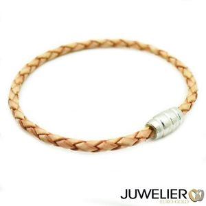 【送料無料】ブレスレット アクセサリ― 92519cmベージュブレスレットbracelet from beige genuine leather with magnetic closure from 925 silver, length 19cm