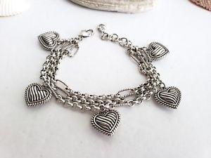 【送料無料】ブレスレット アクセサリ― brighton3braceletbrighton triple strand puffy heart charm silver bracelet
