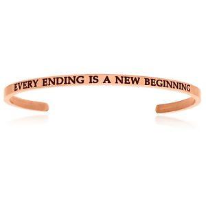 【送料無料】ブレスレット アクセサリ― ピンクステンレスカフスブレスレットpink stainless steel every ending is a beginning cuff inspiring bracelet