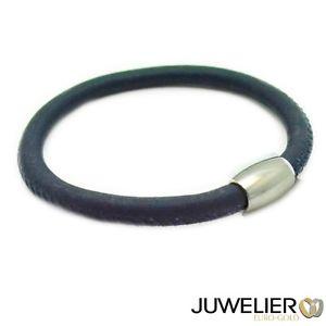 【送料無料】ブレスレット アクセサリ― 92519cmブレスレットbracelet dark blue genuine leather with magnetic closure from 925 silver, length 19cm
