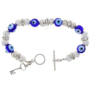 【送料無料】ブレスレット アクセサリ― スターリングシルバーキーボールビーズガラスブレスレットsterling silver 8 key, ball beads amp; evil eye glass charm bracelet with cz