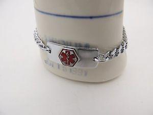 【送料無料】ブレスレット アクセサリ― ブレスレットステンレスエナメルチェーンリンク814medical alert bracelet stainless steel enamel chain links engraveable 8 14